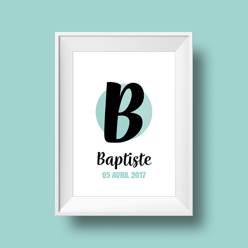 Affiche poster initiale B et prénom Baptiste personnalisée avec la date de naissance et une couleur au choix.