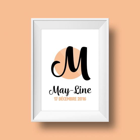 Affiche poster initiale M et prénom May-Line personnalisée avec la date de naissance et une couleur au choix.