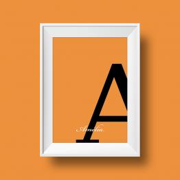 Affiche prénom personnalisée Amelia orange