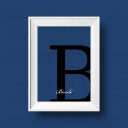 Affiche prénom personnalisée Basile bleu