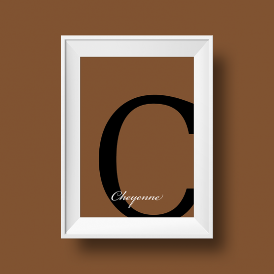 Affiche prénom personnalisée cheyenne marron