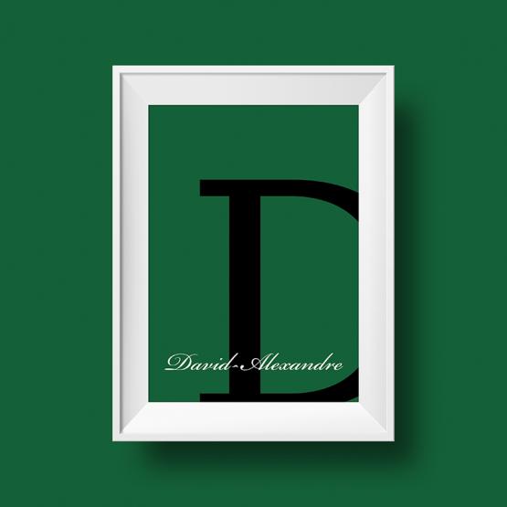 Affiche prénom personnalisée david alexandre vert bouteille