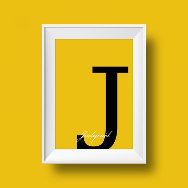 Affiche prénom personnalisée judycael jaune