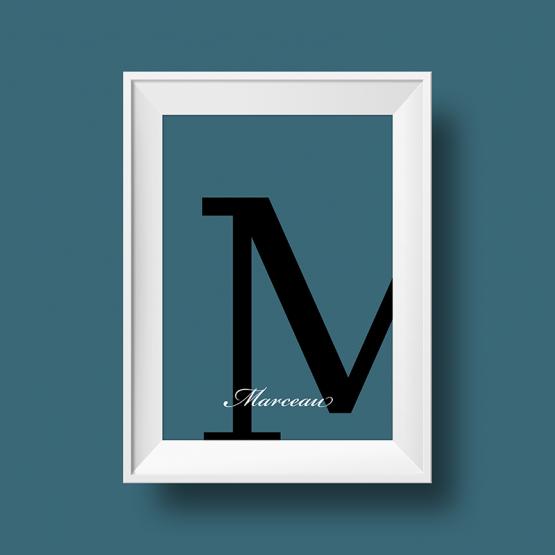 Affiche prénom personnalisée avec initiale et couleur au choix