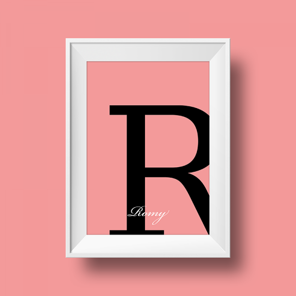 Affiche prénom personnalisée romy rose