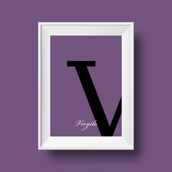 Affiche prénom personnalisée virgile violet