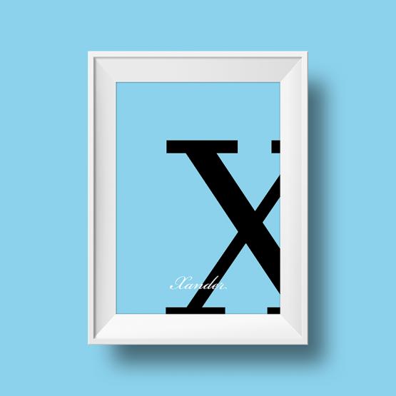 Affiche prénom personnalisée xander bleu ciel