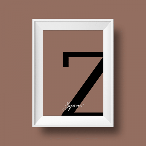 Affiche prénom personnalisée zyane taupe