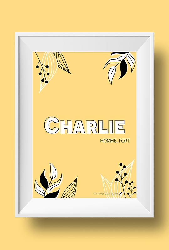 Affiche signification du prénom Charlie
