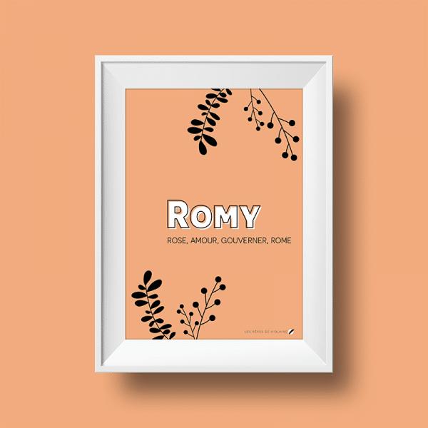 Affiche signification du prénom Romy